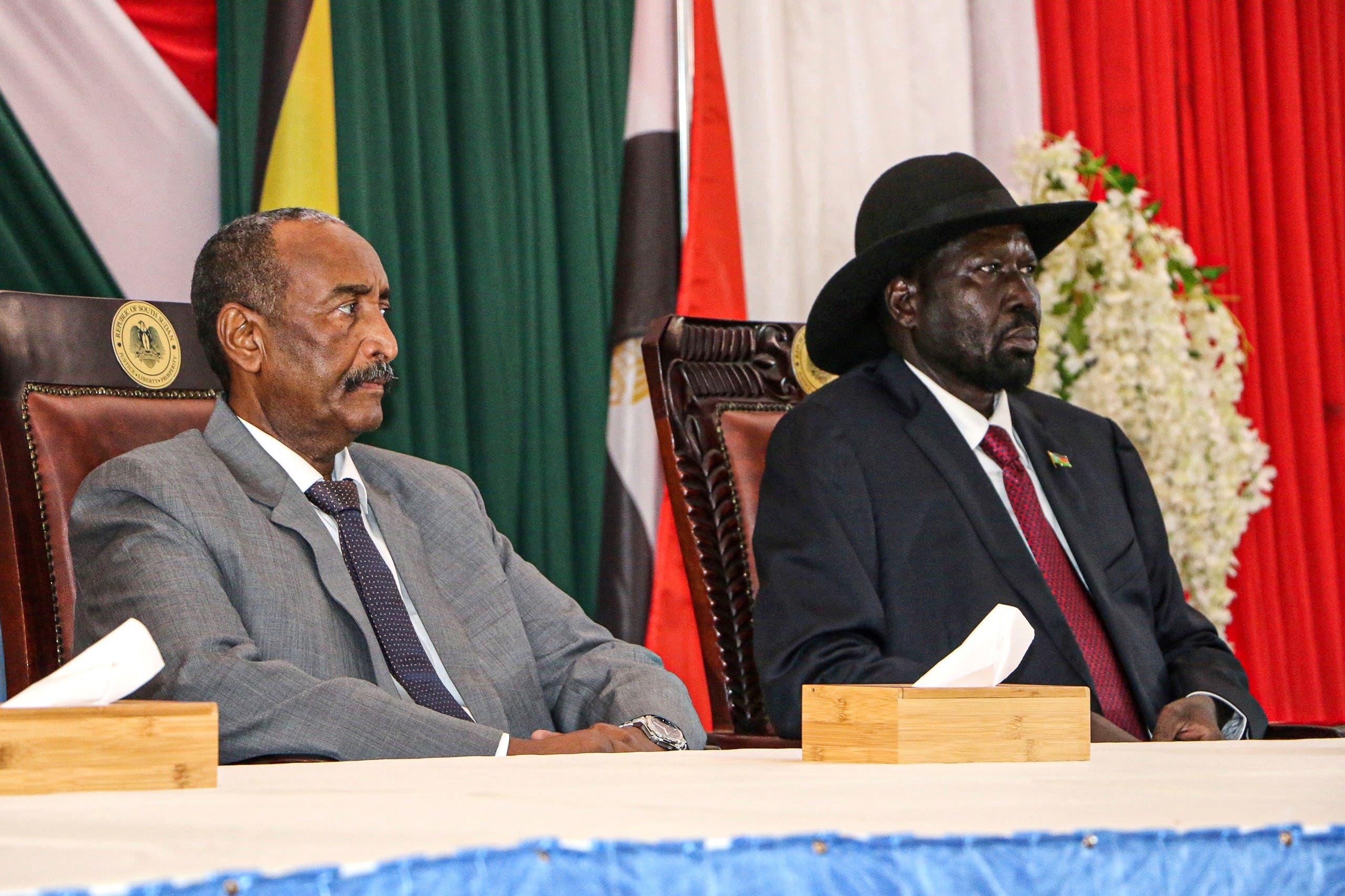 سلفا كير وعبد الفتاح البرهان في جوبا يوم 14 أكتوبر