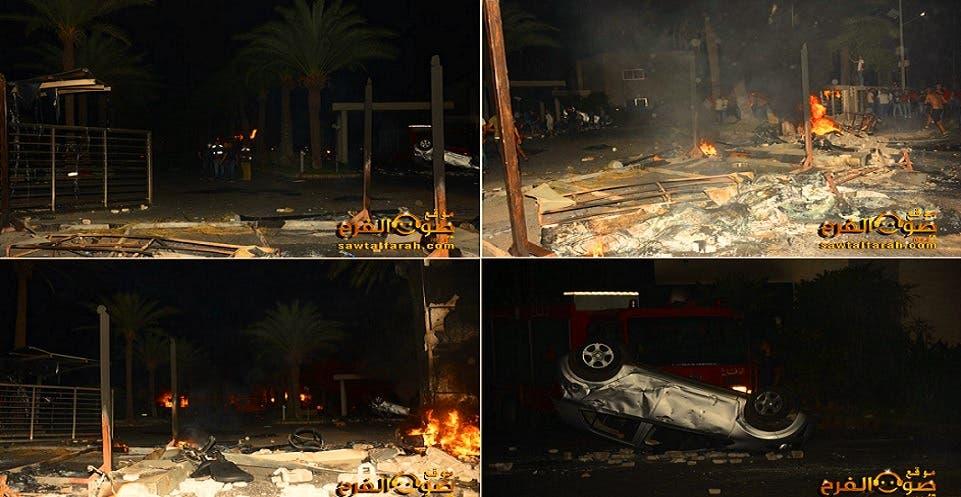 حرق الاستراحة السياحية التهم كل محيطها الخارجي، وكان عنيفا