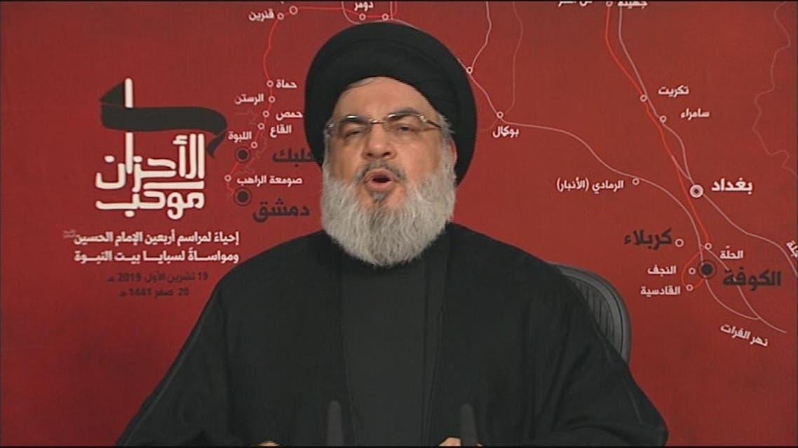 THUMBNAIL_ الامين العام لمليشيا حزب الله حسن نصر الله  يهدد كل من سيترك الحكومة