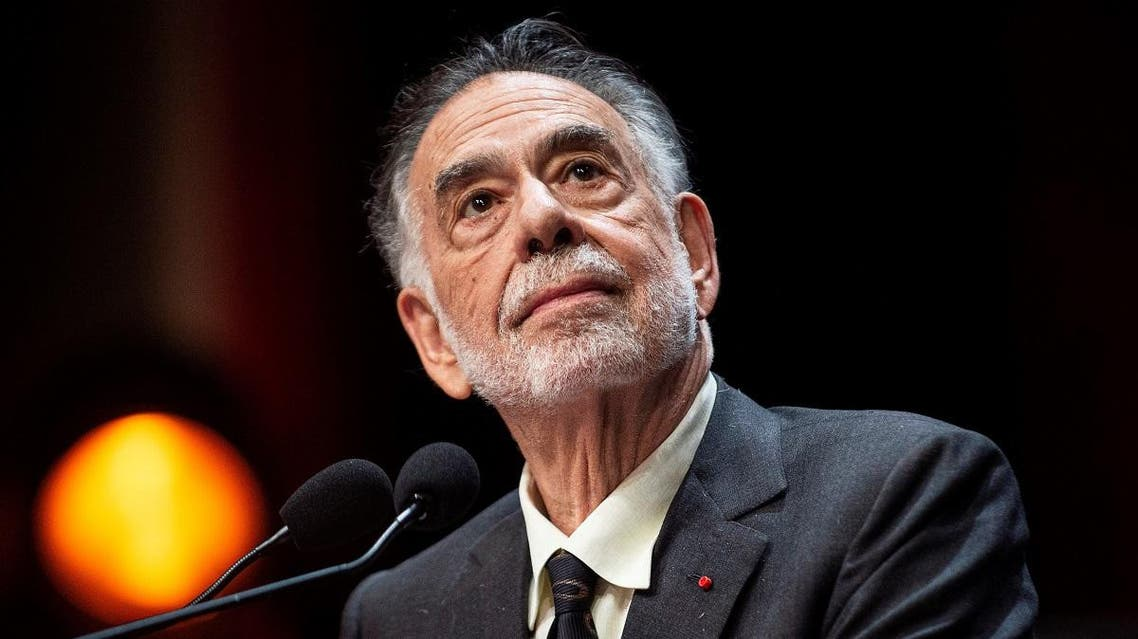 US movie director Francis Ford Coppola prepares to speak on stage after receiving the Lumiere Award during the 11th edition of the Lumiere Film Festival in Lyon, central eastern France, on October 18, 2019. (AFP)