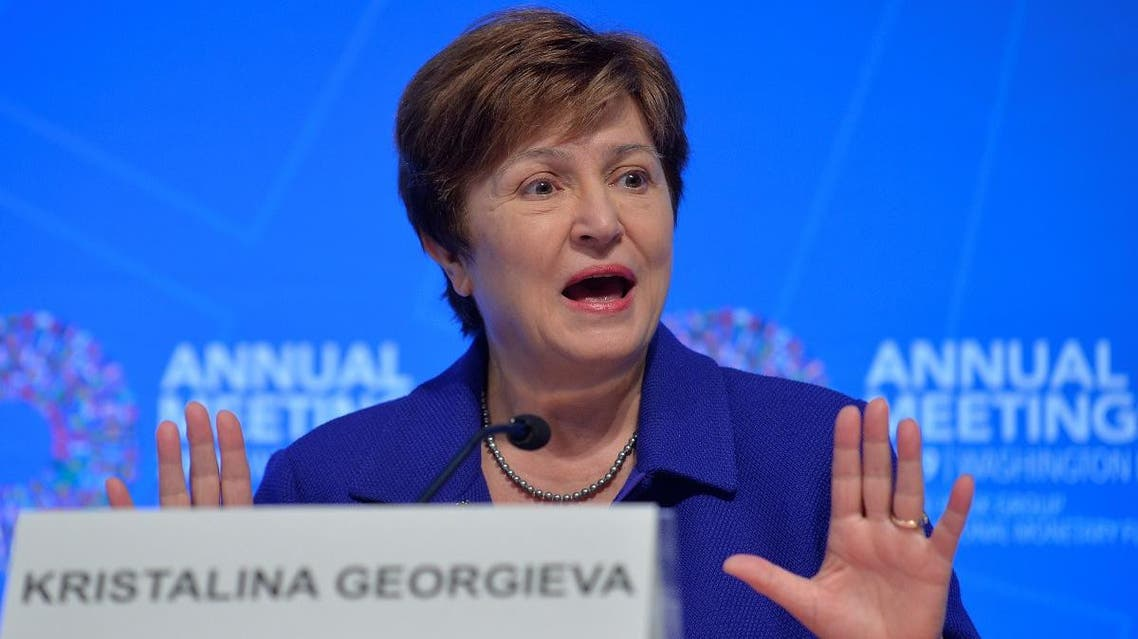 International Monetary Fund (IMF) Managing Director Kristalina Georgieva makes remarks during a closing news conference for the International Monetary Finance Committee (IMFC), during the IMF and World Bank's 2019 Annual Meetings of finance ministers and bank governors, in Washington, U.S., October 19, 2019. REUTERS