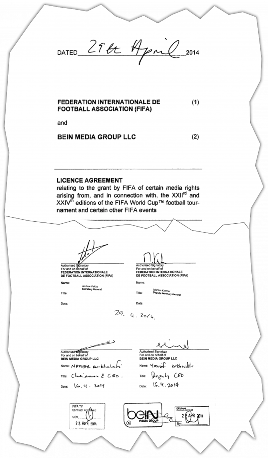 عقد شراء حقوق مونديالي 2026 و2030 الموقَّع في التاسع والعشرين من أبريل 2014 من قبل ممثلي BeIN والفيفا