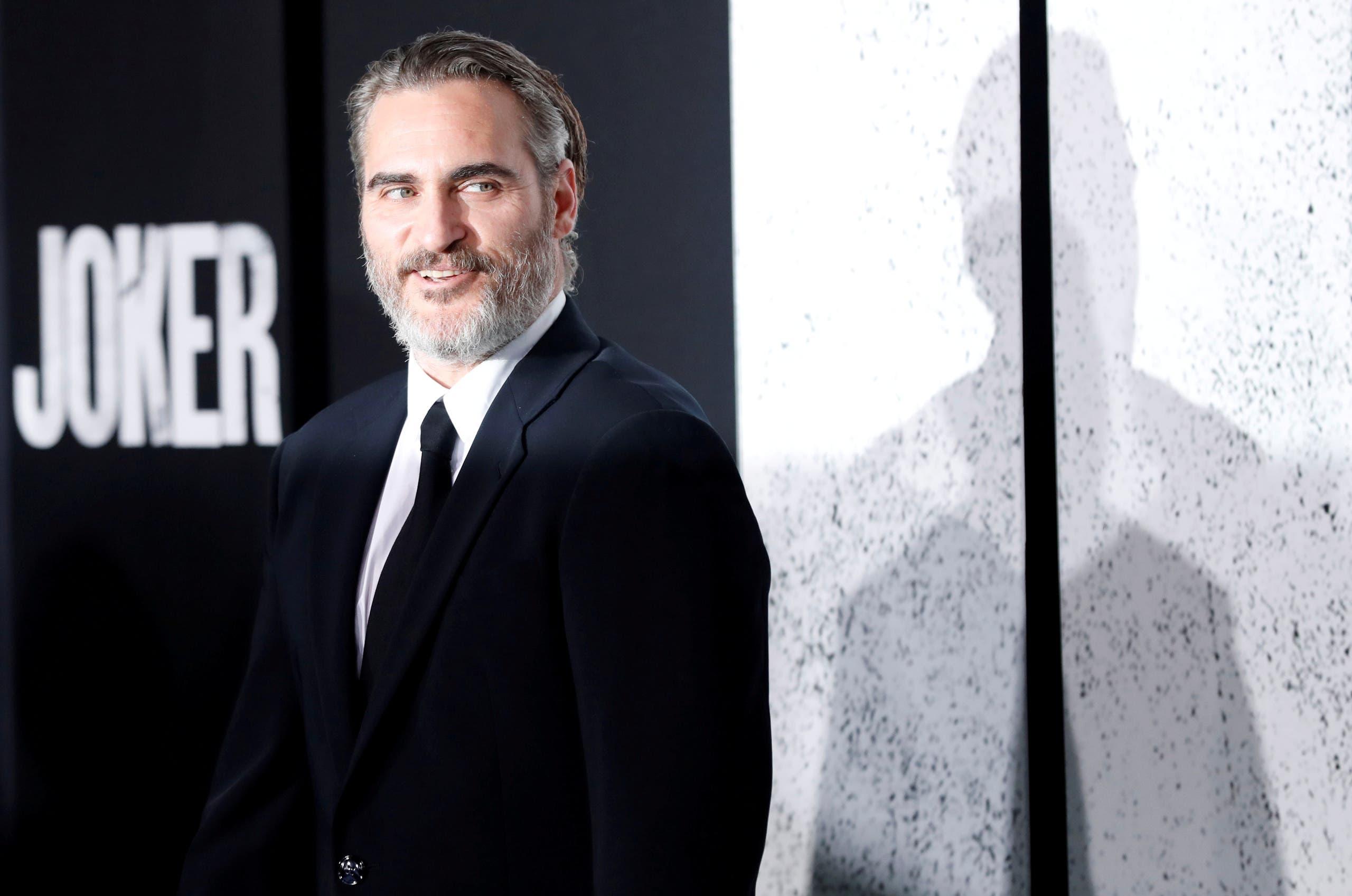 خواكين فينيكس بطل فيلم الجوكر في العرض الأول للفيلم في كاليفورنيا يوم 28 سبتمبر أيلول 2019