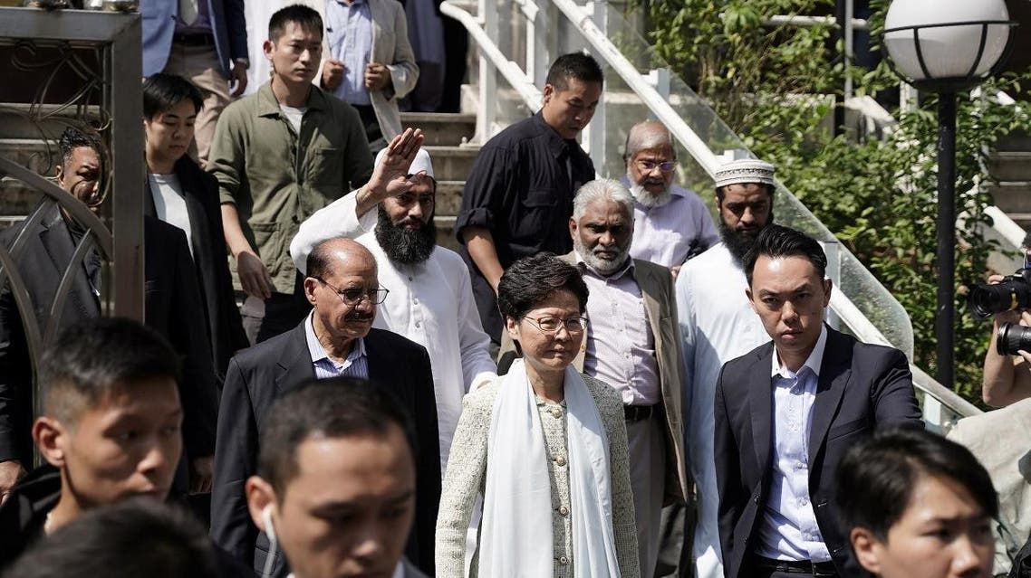 Hong Kong's Chief Executive Carrie Lam exits the Kowloon Mosque, or Kowloon Masjid and Islamic Centre, in Tsim Sha Tsui district in Hong Kong. (Reuters)
