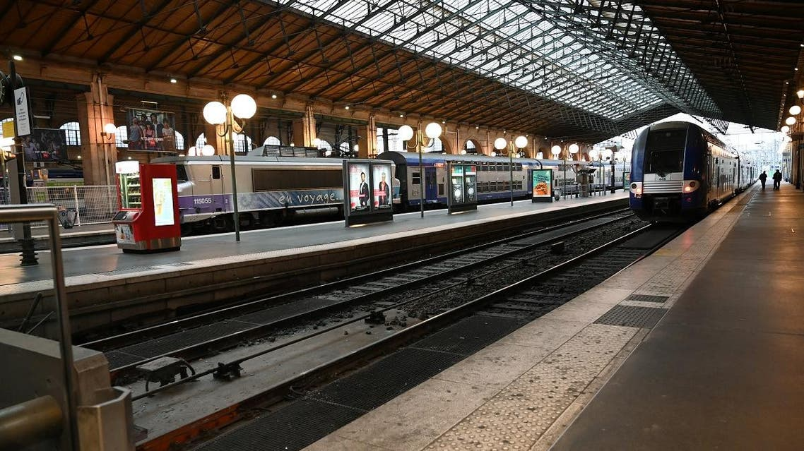 A photo shows a deserted platform at the Gare du Nord railways station in Paris during a strike called by unions against a draft pension reform, on September 24, 2019. (AFP)