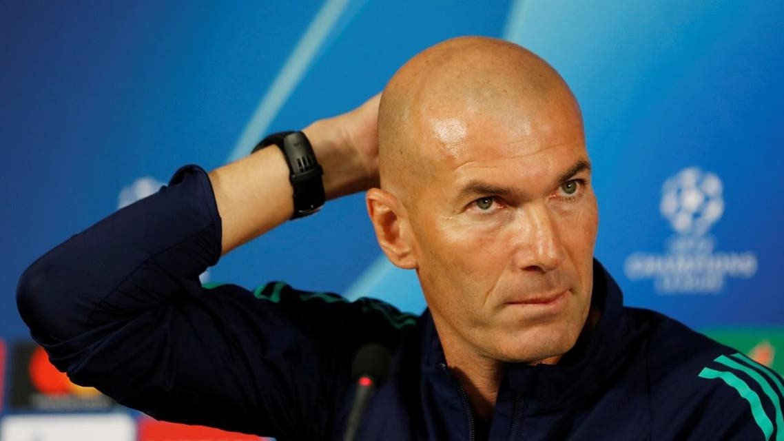 Real Madrid coach Zinedine Zidane during a press conference. (Reuters)