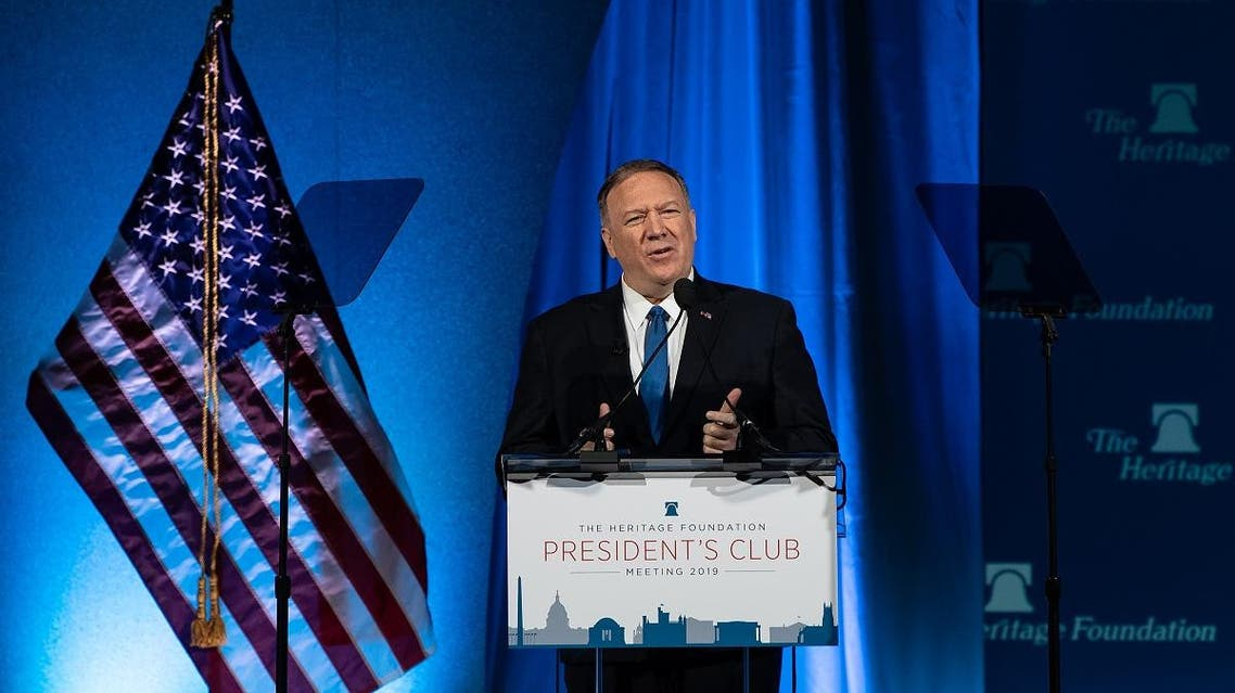 US Secretary of State Mike Pompeo addresses the Heritage Foundation's President's Club meeting in Washington, DC, on October 22, 2019. (AFP)