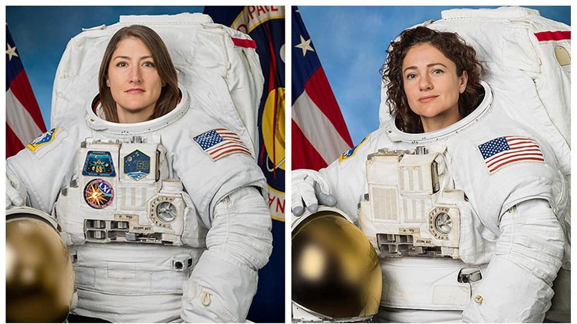 Astronauts Christina Koch and Jessica Meir pose for their official NASA portraits in undated photos taken at Johnson Space Center. (Reuters)