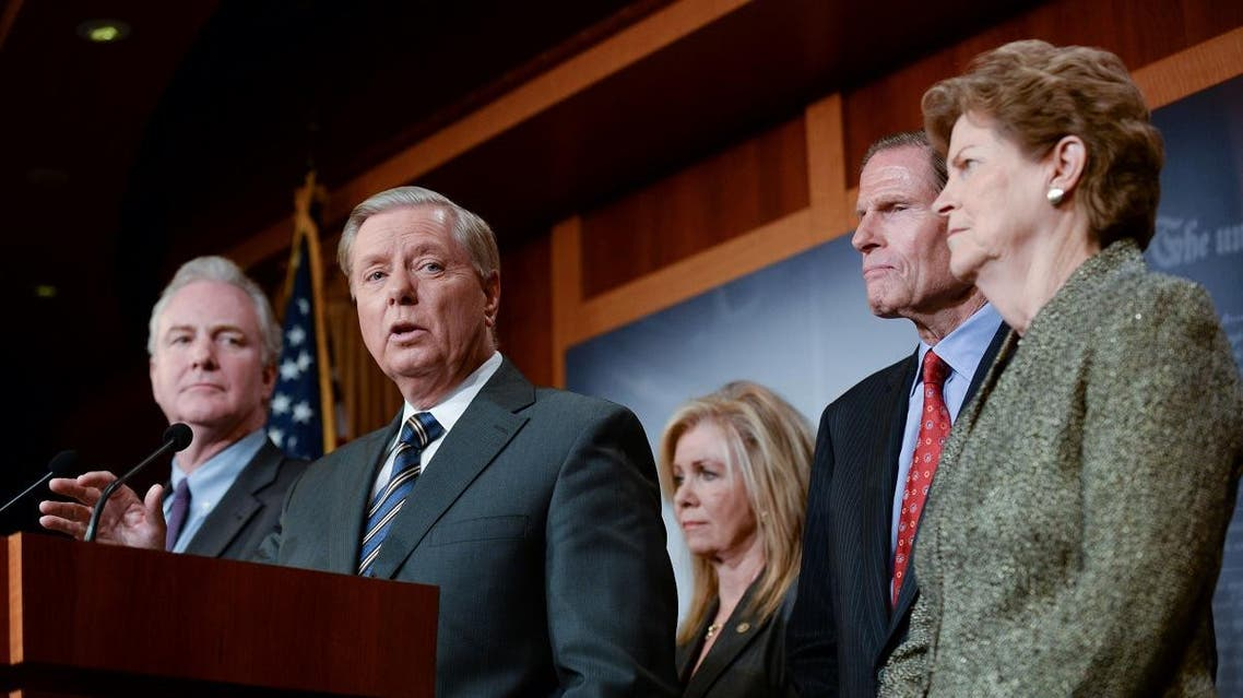 Sen. Graham announces a bipartisan agreement on Turkey sanctions during a news conference in Washington. (Reuters)