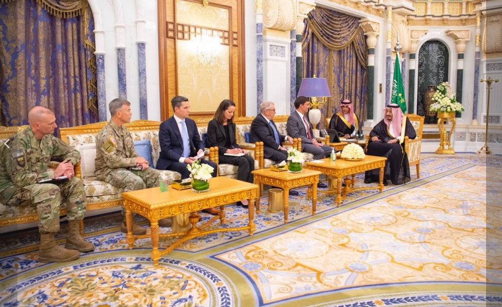 King Salman and US Defense Secretary Mark Esper. (SPA)