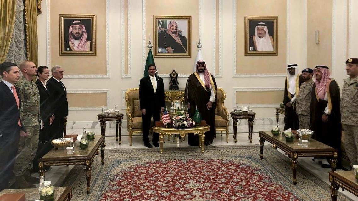 US Defense Secretary Mark Esper is welcomed by Saudi Arabia's Deputy Defense Minister Prince Khalid bin Salman, in Riyadh. (Reuters)