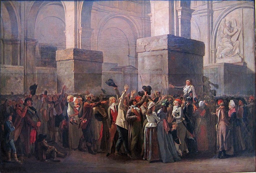لوحة زيتية تجسد حادثة تبرئة جان بول مارات