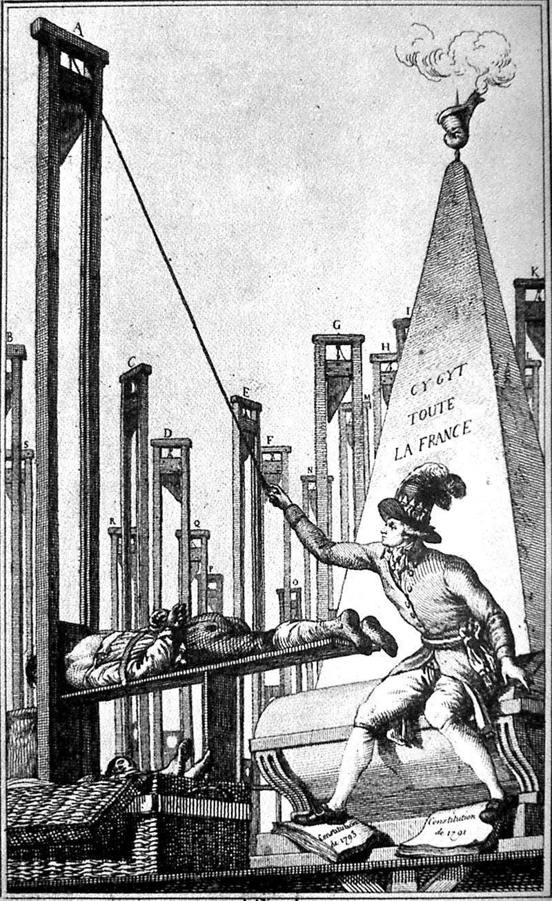 رسم تخيلي لإحدى عمليات الإعدام عن طريق المقصلة