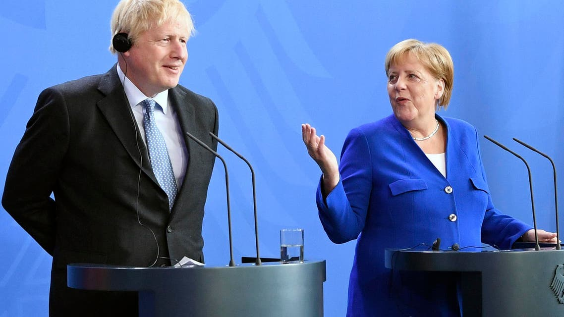 Germany's Chancellor Angela Merkel and British Prime Minister Boris Johnson attend a joint press conference, in Berlin, Wednesday, Aug. 21, 2019.  (AP)