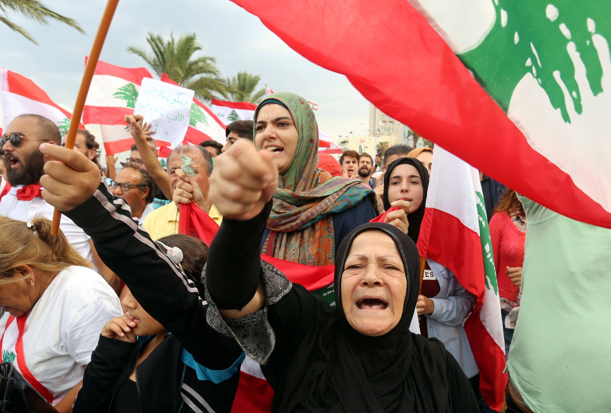 احتجاجات في صور جنوب لبنان (23 أكتوبر- فرانس برس)