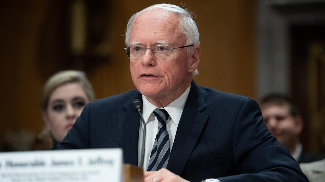 James Jeffrey, State Department special representative for Syria engagement and special envoy to the Global Coalition to Defeat ISIS, testifies about Turkey's actions in Syria during a Senate Foreign Relations Committee hearing on Capitol Hill in Washington, DC, October 22, 2019. (AFP)
