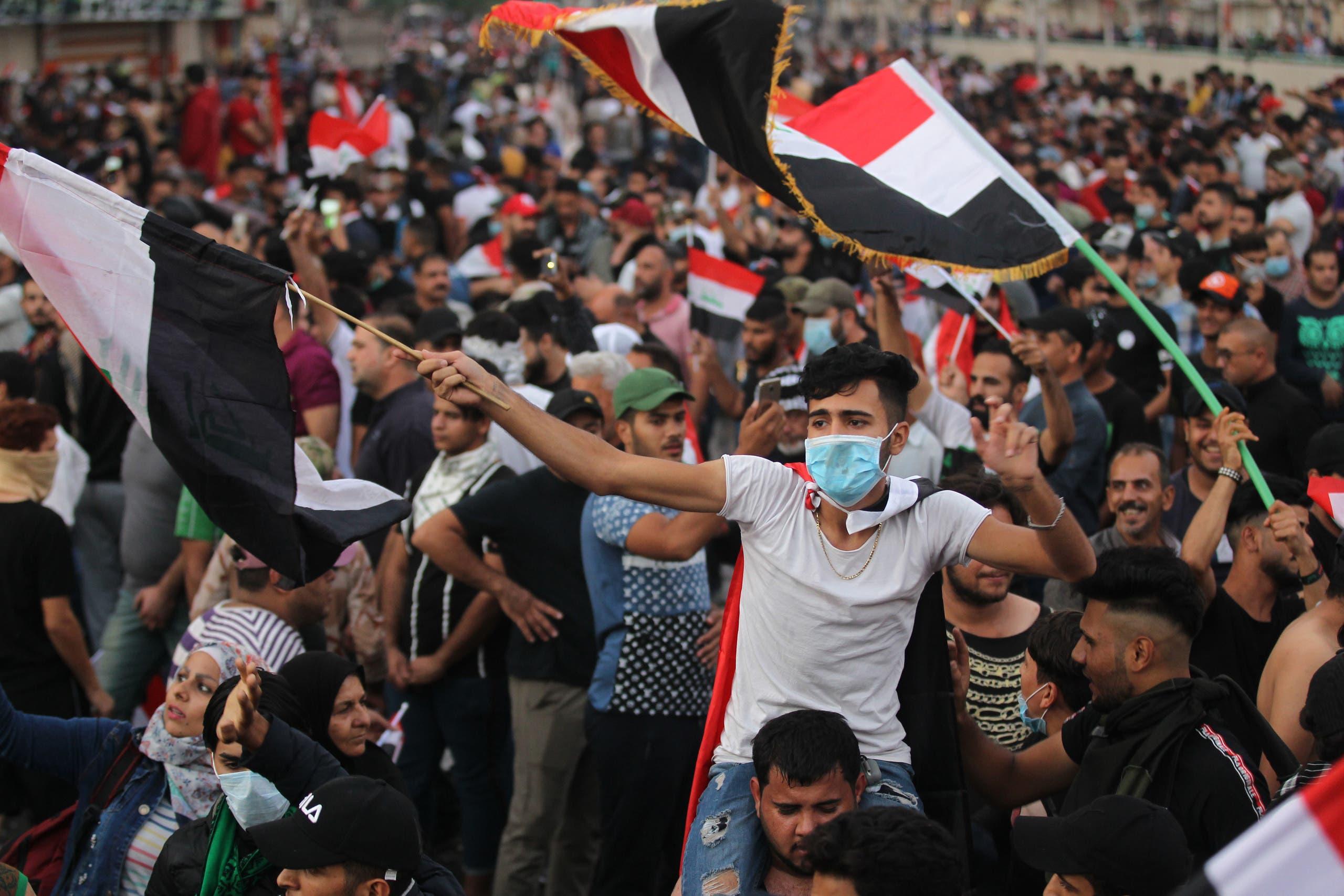 مظاهرات في ساحة التحرير بالعاصمة العراقية