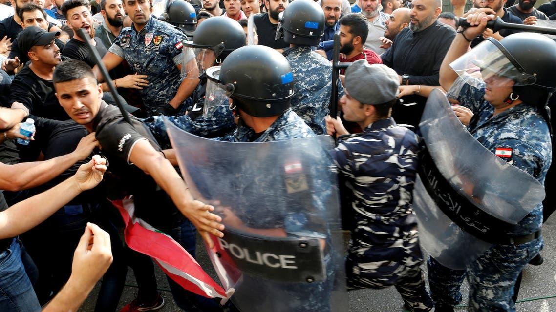 من اشتباكات الأمن اللبناني مع مناصري حزب الله في بيروت اليوم