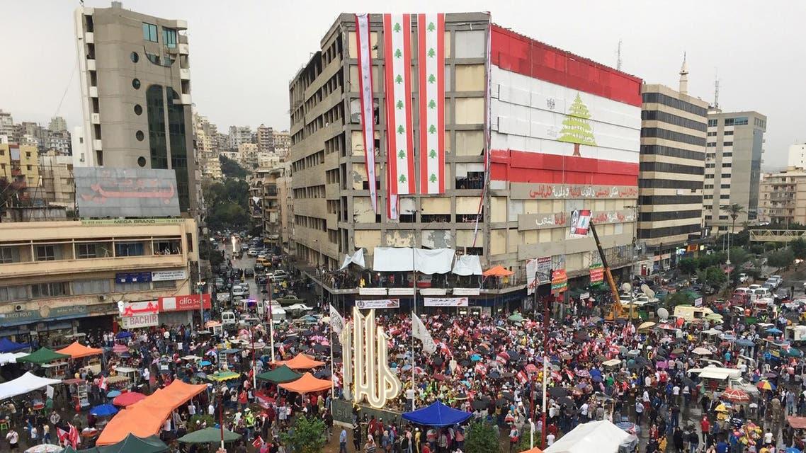 Demonstrators protesters in Tripoli, Lebanon, Thursday October 24 - Reuters