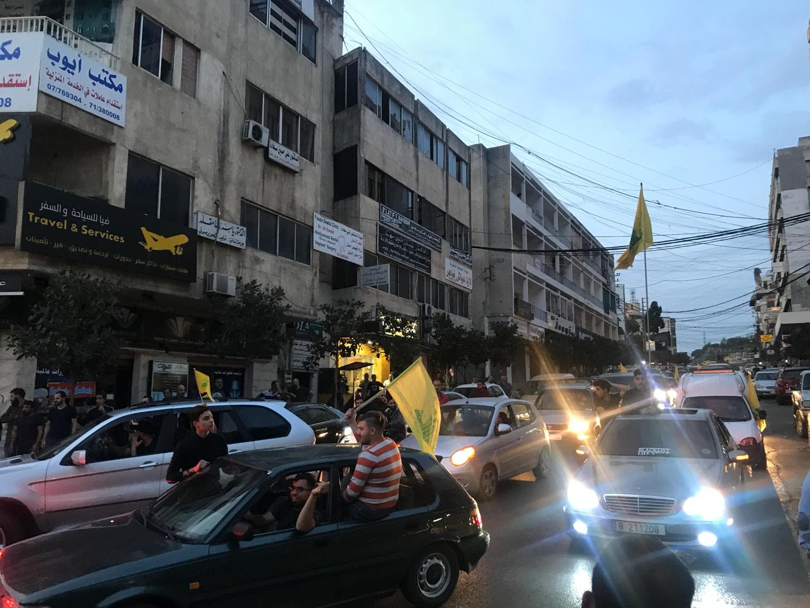 Hezbollah supporters turned up and attempted to reach the protest zone in a motor convoy