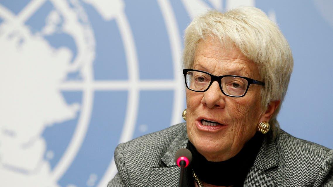 Carla del Ponte, UN investigator, 2016, speaking at UN news conference - Reuters