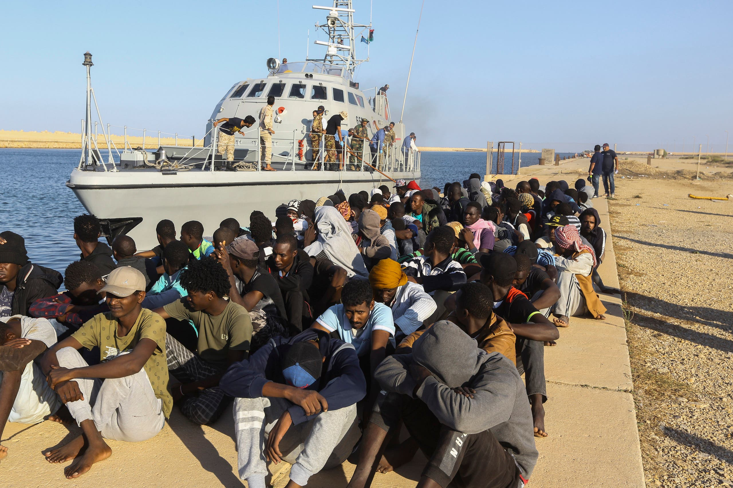A file photo of migrants who were rescued off the coast of Libya. (AP)