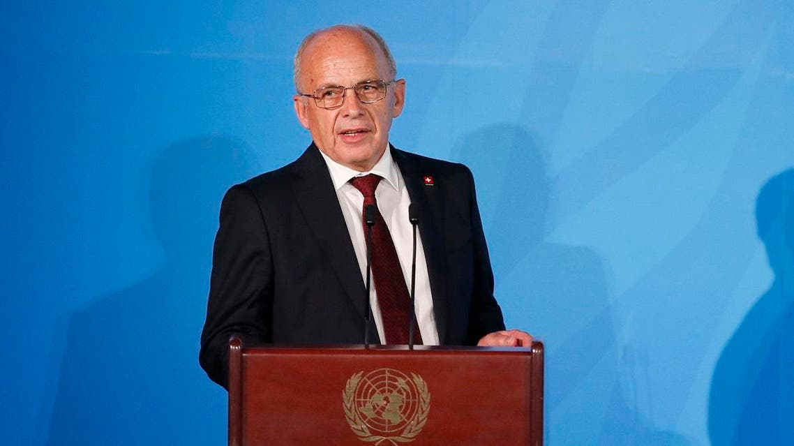Switzerland's President Ueli Maurer addresses the Climate Action Summit in the United Nations General Assembly at the U.N. headquarters, Monday, Sept. 23, 2019. (AP Photo/Jason DeCrow)