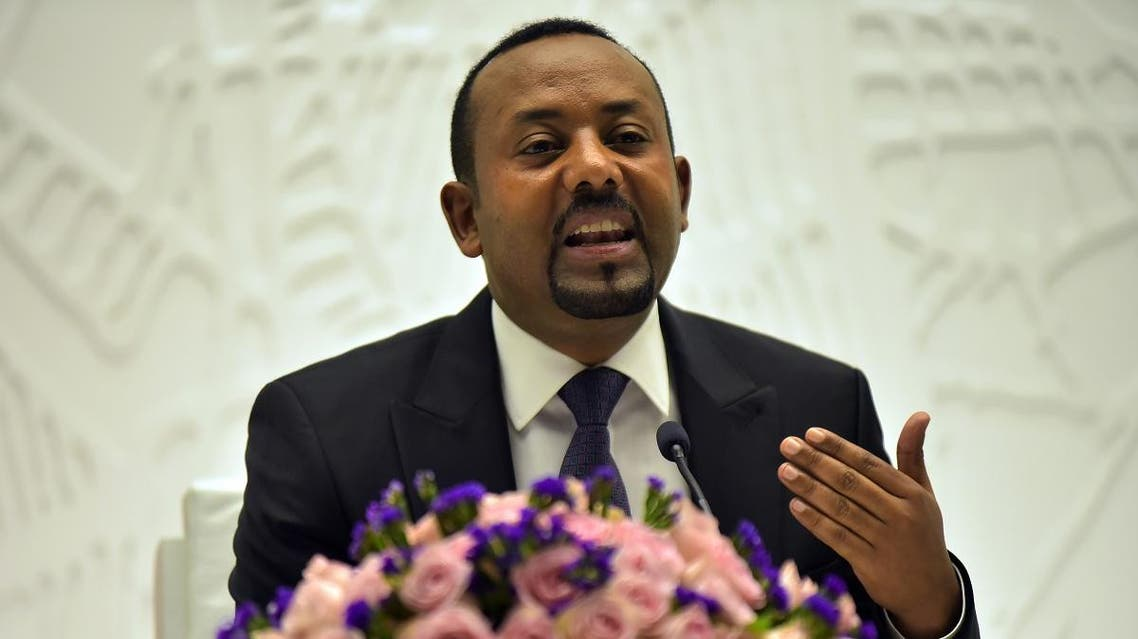 In this file photo taken on August 01, 2019 Ethiopia's Prime Minister Abiy Ahmed gives a press conference at the Prime Minister's office in the capital, Addis Ababa. (AFP)
