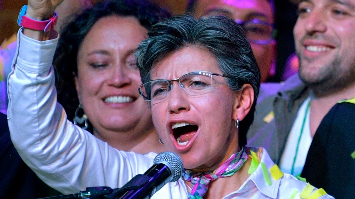 Claudia Lopez celebrates after winning the regional elections in Bogota. (AFP)