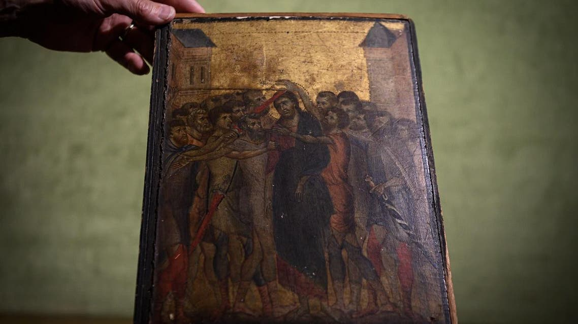 """a painting entitled """"the Mocking of Christ"""" by the late 13th century Florentine artist Cenni di Pepo also known as Cimabue. (AFP)"""