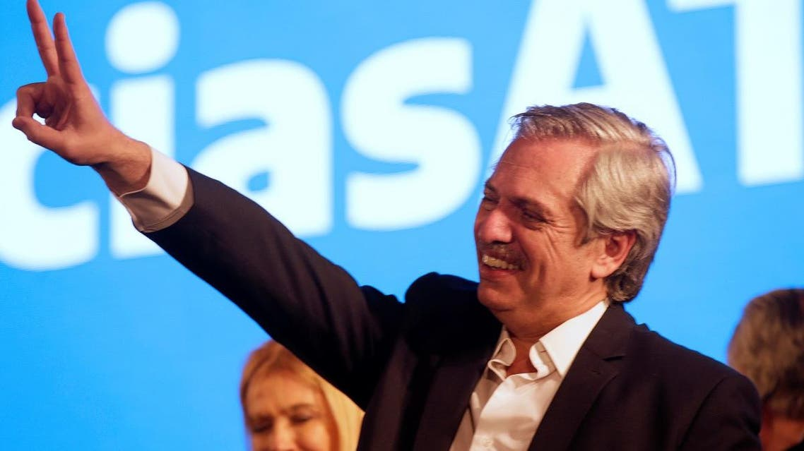 Presidential candidate Alberto Fernandez and running mate former President Cristina Fernandez de Kirchner (not pictured) celebrate after election results in Buenos Aires, Argentina October 27, 2019. (Reuters)