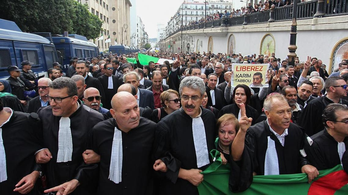 Lawyers take part in a demonstration demanding the independence of the judiciary system in the Algerian capital Algiers on October 24, 2019. (File photo: AFP)