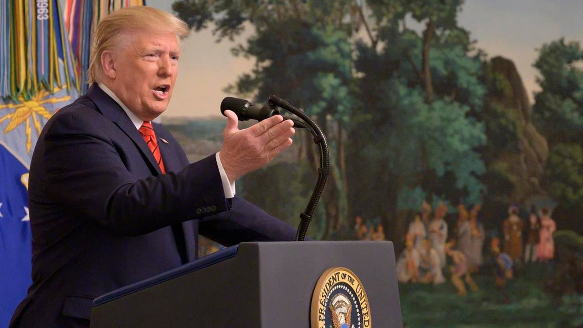 US President Donald Trump makes a major announcement October 27, 2019 the White House in Washington, DC. Trump confirmed the death of ISIS chief Abu Bakr al-Baghdadi. (AFP)