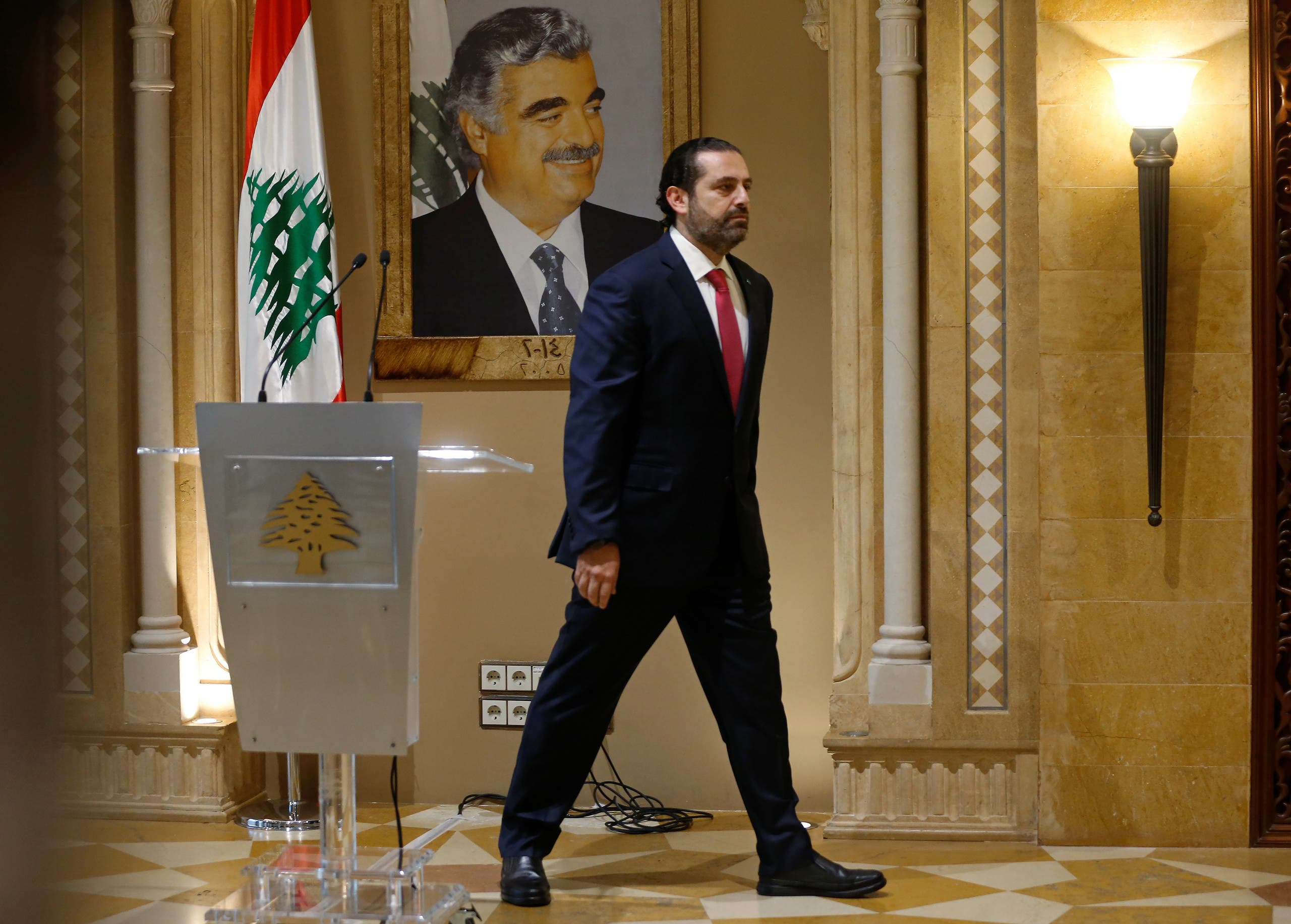 Saad Hariri leaves after a news conference in Beirut, October 29, 2019. (Reuters)