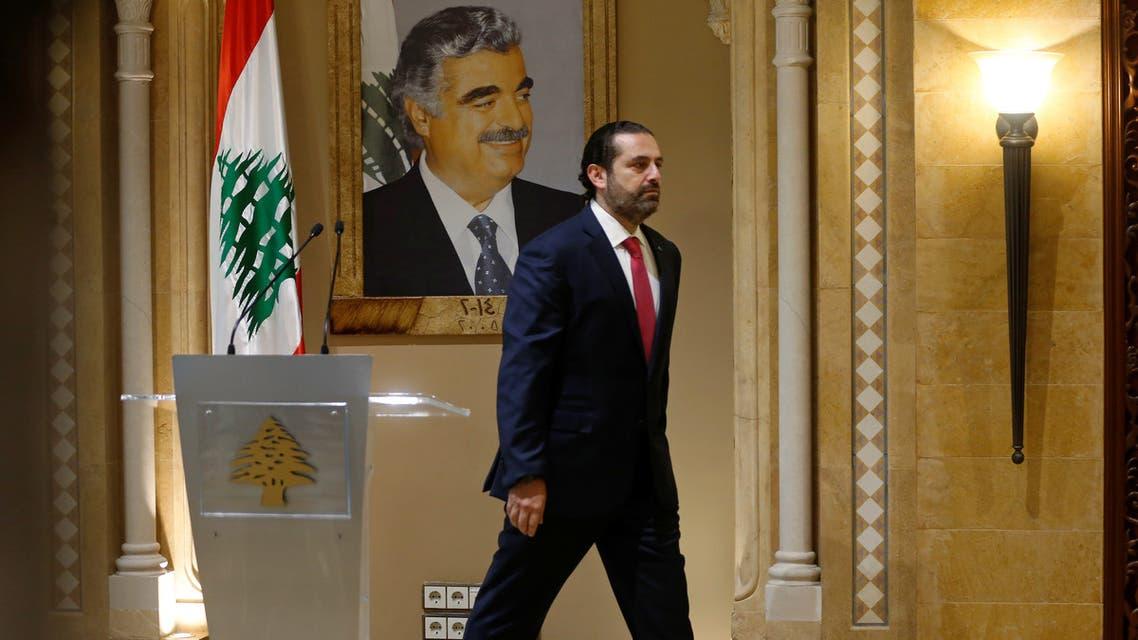 Lebanon Prime Minister Saad al Hariri leaves after a news conference in Beirut Lebanon October 29 2019 REUTERS