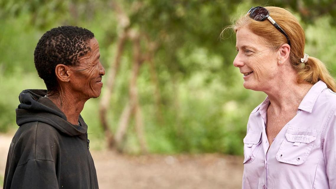 Vanessa Hayes speaks with Headman ǀkun ǀkunta, from an extended Ju/'hoansi family, who provided genome data for a study identifying the ancestral homeland in southern Africa of all living members of our species, in Namibia, February 6, 2019. (Reuters)
