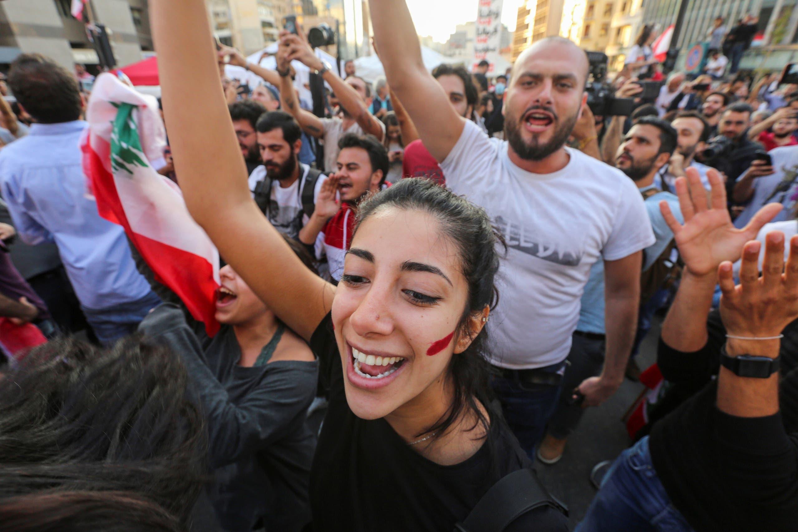 من الاحتجاجات في بيروت الثلاثاء