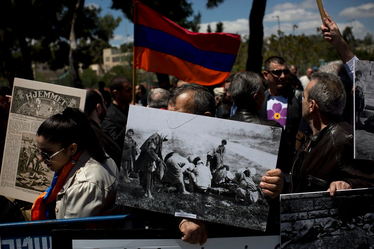 Armenians demonstrate in front of the Turkish consulate to commemorate the 100th anniversary of the 1915 Armenian genocide, in Jerusalem. (File photo: AP)