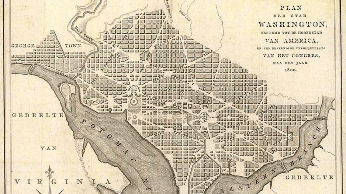 خريطة للعاصمة واشنطن مطلع القرن 19