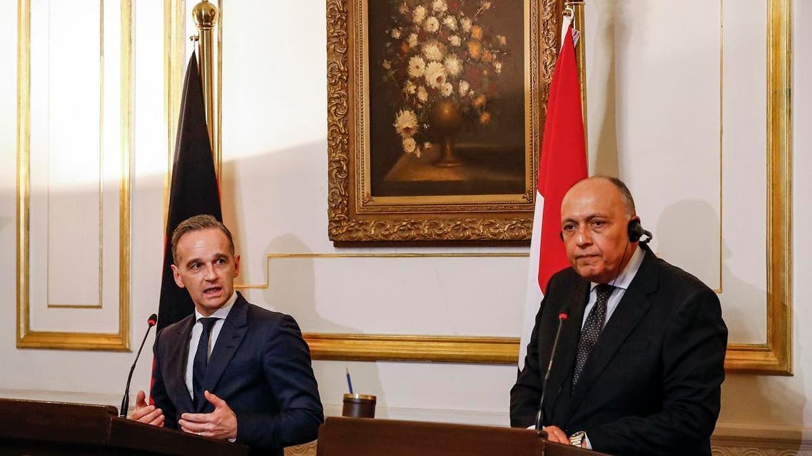 Egyptian Foreign Minister Sameh Shoukry (R) and his German Counterpart Heiko Maas give a joint press conference at al-Tahrir Palace in the Egyptian capital Cairo's Tahrir Square on October 29, 2019. (AFP)