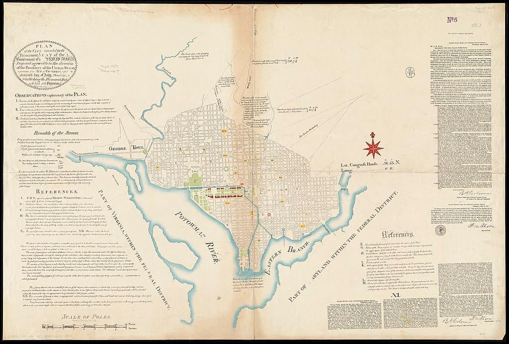 رسم لخريطة مدينة واشنطن التي تخيّلها بيار شارلز لانفانت