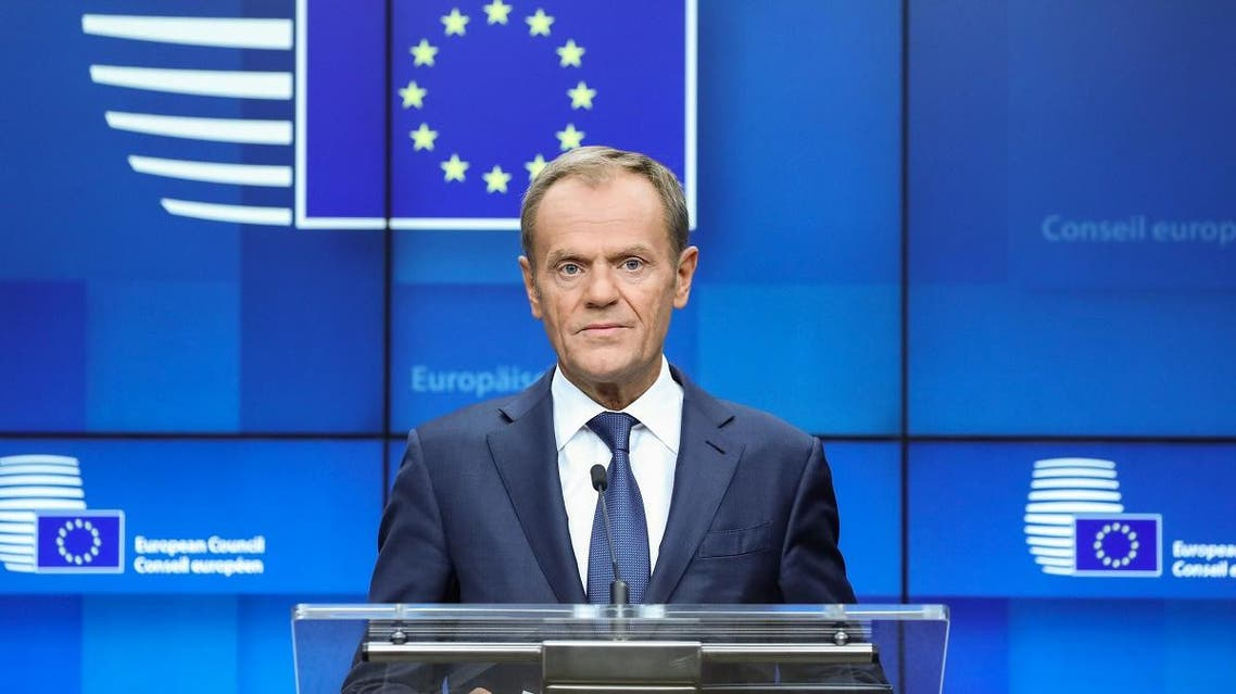 European Council President Donald Tusk addresses media representatives at a press conference during a European Union Summit at European Union Headquarters in Brussels on October 18, 2019. (AFP)