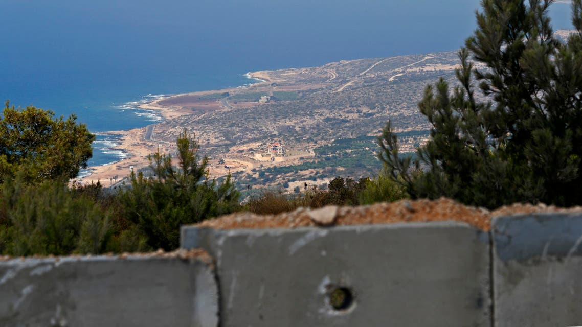 A picture taken on September 5, 2018 near the Rosh Hanikra border crossing in northern Israel, shows the Naqura Bay south of the Lebanese city of Tyre lebanon