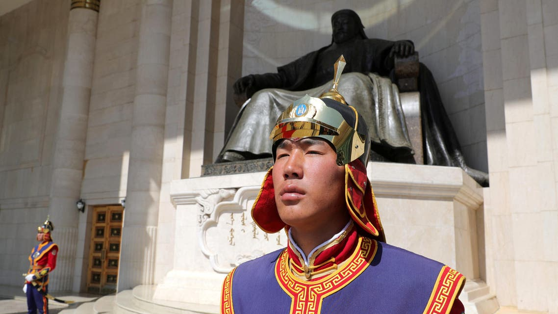 Mongolian honour guards in the capital Ulaanbaatar preparing to welcome Russia's President Vladimir Putin - Reuters