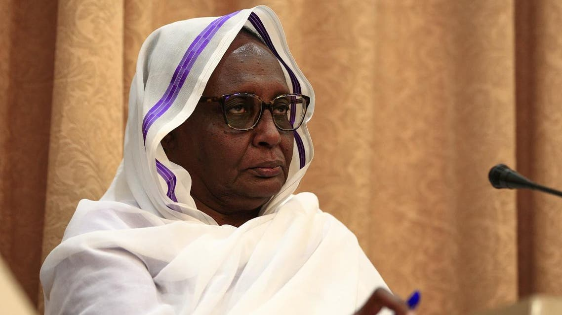Asma Mohamed Abdalla, Sudan's newly appointed foreign minister, gives a joint press conference with her French counterpart, in capital Khartoum on September 16, 2019. (AFP)