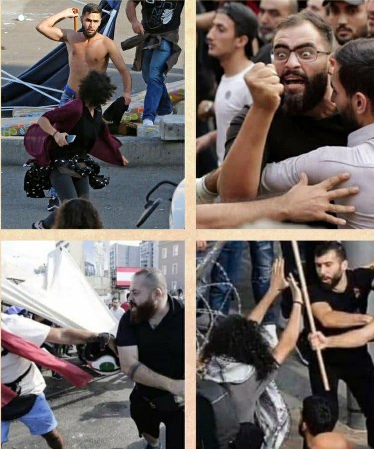 اعتداء مناصرين لحزب الله وأمل على المتظاهرين في لبنان