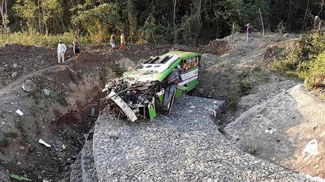 The wreckage of a passenger bus Wednesday, March 21, 2018, after it careened off a road and fell into a ravin at Sablayan township, Mindoro Occidental province in central Philippines, south of Manila. (AP)