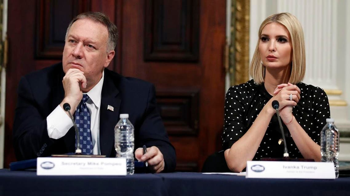 Secretary of State Mike Pompeo and Ivanka Trump listen during a meeting of the President's Interagency Task Force to Monitor and Combat Trafficking in Persons (PITF), in the Eisenhower Executive Office Building, on the White House complex, Tuesday, Oct. 29, 2019, in Washington. (AP)