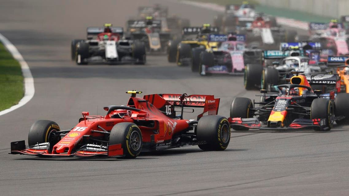 Ferrari driver Charles Leclerc, of Monaco, leads the pack during the start of the Formula One Mexico Grand Prix auto race at the Hermanos Rodriguez racetrack in Mexico City. (AP)
