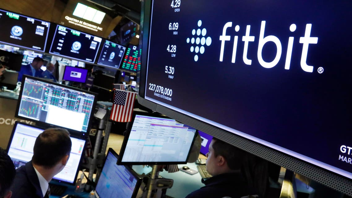 The logo for fItbit appears above a trading post on the floor of the New York Stock Exchange, Monday, Oct. 28, 2019. (AP)